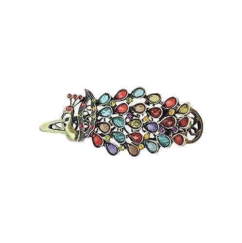 rivenditore all'ingrosso 78653 9475a Klaritta HA14 - Fermacapelli in stile vintage, in bronzo, con piume di  pavone colorate