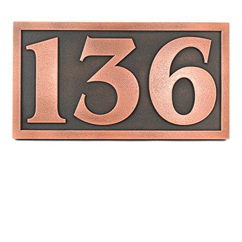 Benguiat Font Address Plaque - 13x7 - Raised Copper Patina Coated by Atlas Signs and Plaques
