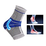 Ankle Brace Compression Support Sleeve with Silicone Pad for Injury Recovery,Sprained Ankle,Plantar Fasciitis,Arthritis,Reduce Foot Pain Swelling(Gray, L)