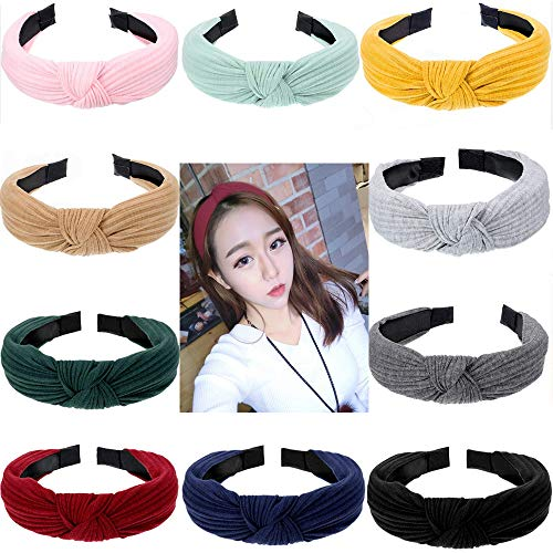 Envysun 10 Pieces Bow Knot Headband Twist Knot Hairbands Cross Knot Headband Wide Headbands Hair Accessory for Women Costume Supplies, 10 Colors
