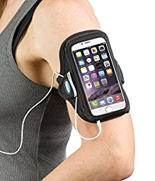 Armband for iPhone 6, 6s, 7 with no case; Also for iPhone 5, 5s, 5c, SE with OtterBox Commuter Case – Great for Running, Sports & Workouts for Men & Women – Sweat-Resistant Design [Black]