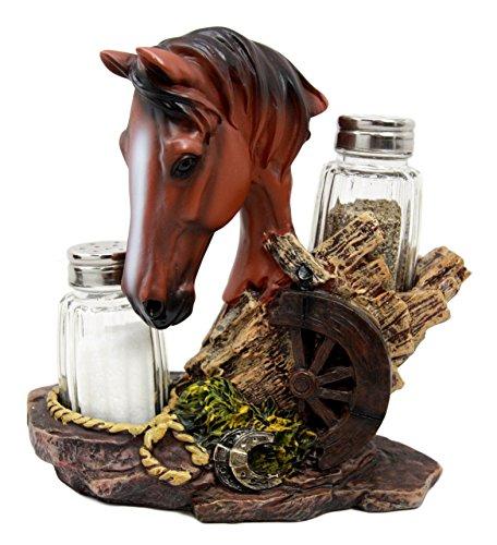 Ebros Western Decor Chestnut Brown Stallion Horse by Wagon Wheel Salt Pepper Shakers Holder Figurine Set 6.25