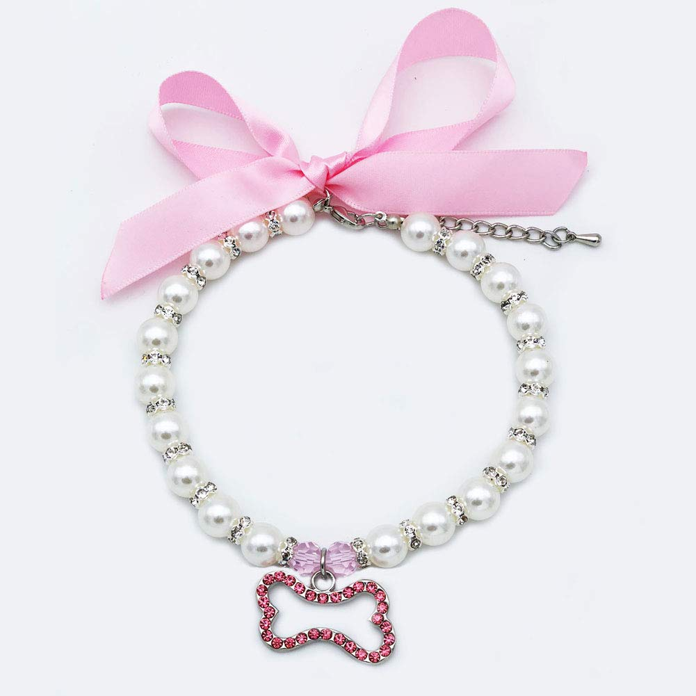 PetFavorites Pearl Crystal Dog Necklace Collar Jewelry for Small Dogs Puppy, Bling Cat Wedding Collar with Rhinestones Charm, Chihuahua Yorkie Clothes Costume Outfits Accessories (Pink Bone, Size L)