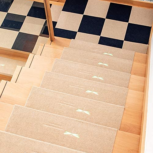 VIKMKM Resistente al Agua Antideslizante Almohadillas de Escalera Protectores Almohadillas Lana Coral Lavable Estera Luminosa Alfombrilla Escalera Interior Alfombras de Goma,H,55x22x4.5cm: Amazon.es: Hogar