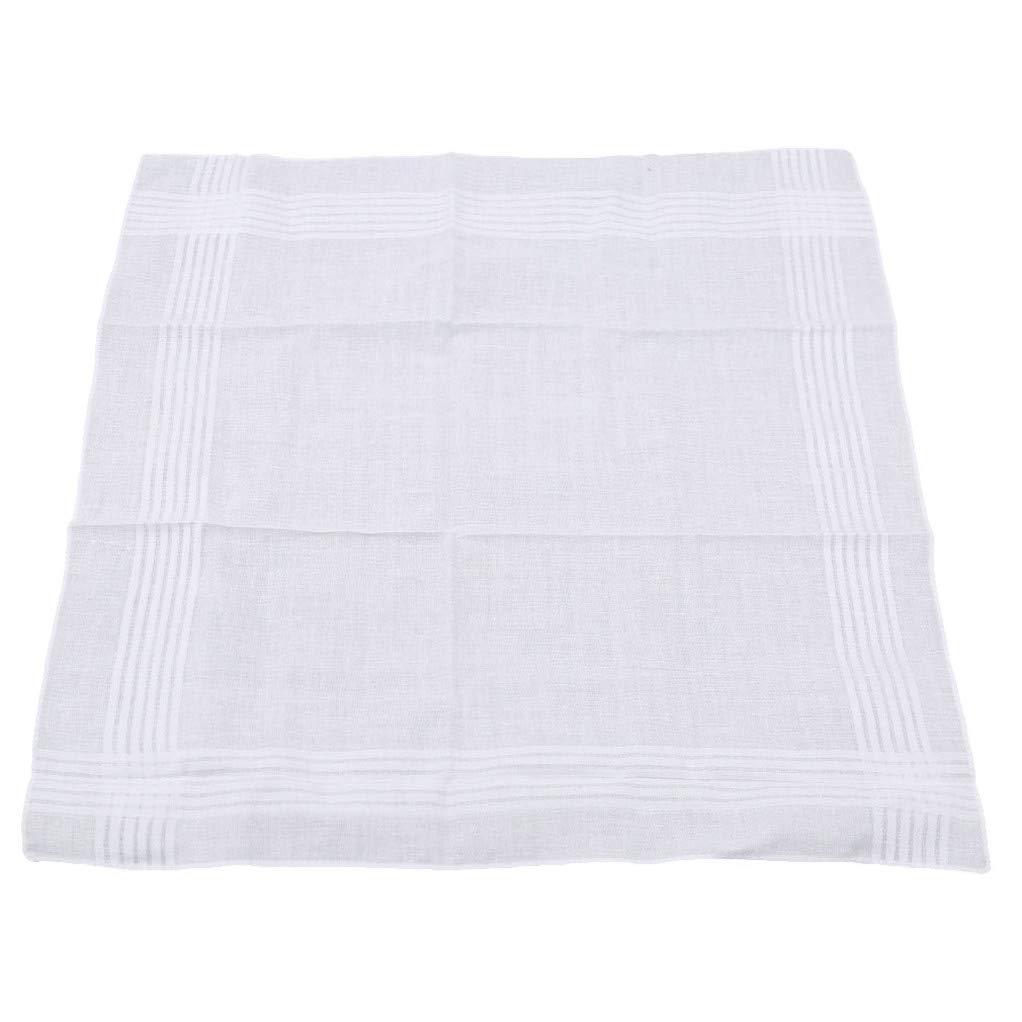 SEVENHOPE 12pcs Men Women Cotton Handkerchiefs Soft Washable White Towel DABO