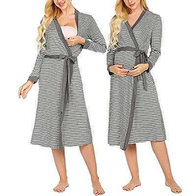 Ekouaer Womens Maternity Pregnancy Labor Robe Striped Long Sleeve Delivery Nursing Nightgowns Hospital Breastfeeding Gown