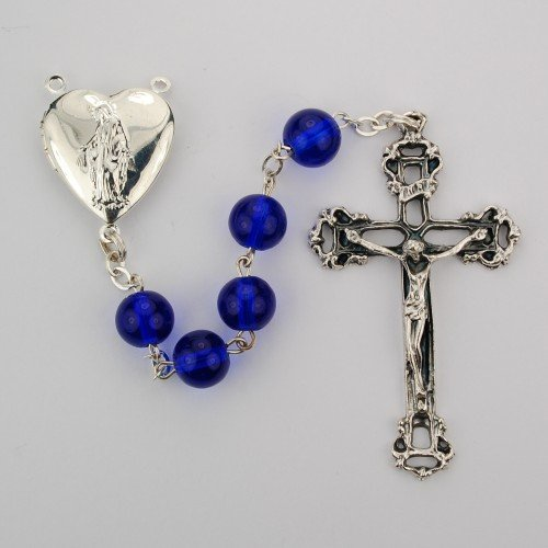 Blue Miraculous Locket 8mm Blue Glass Rosary Beads with Silver Ox Crucifix and Locket Center, Boxed, Made in (Locket Crucifix)