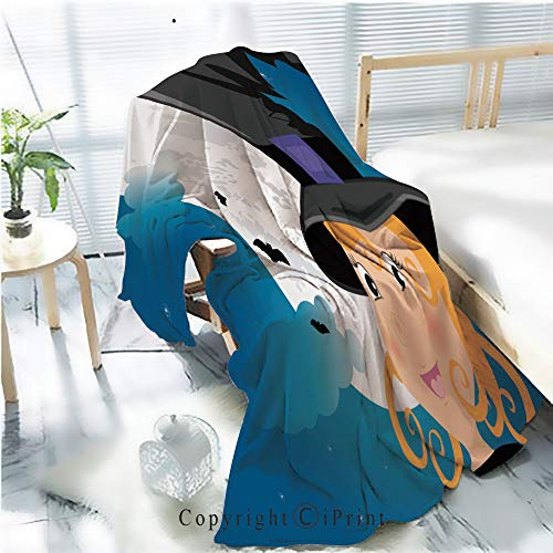 Printed Soft Blanket Premium Blanket,Cute Girl in Halloween Costume Whit Moon and Bats Microfiber Aqua Blanket for Couch Bed Living Room,W59.1 xH78.7 -
