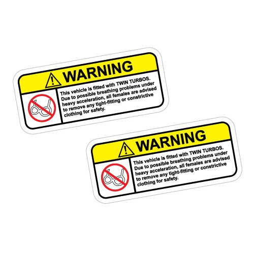 2X WARNING TWIN TURBOS TAKE ALL CLOTHES OFF Sticker Decal