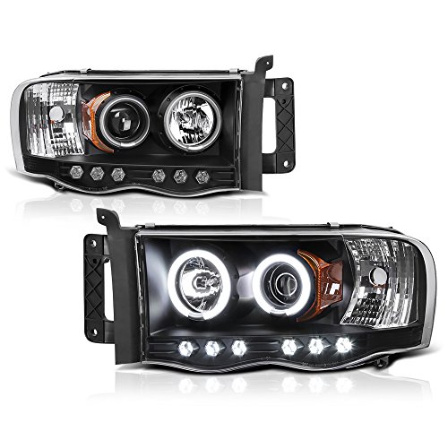 [For 2002-2005 Dodge RAM 1500 2500 3500] CCFL Halo Ring Black Projector Headlight Headlamp Assembly, Driver & Passenger ()