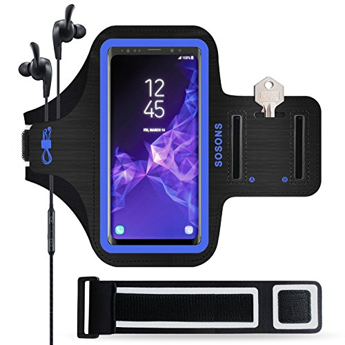 SOSONS Galaxy S9/S9+ Armband, Water Resistant Sports Gym Armband Case for Samsung Galaxy S9/S9 Plus,with Card Pockets and Key Slot,Fits Smartphones with Slim Case + Extension Strap (Blue)