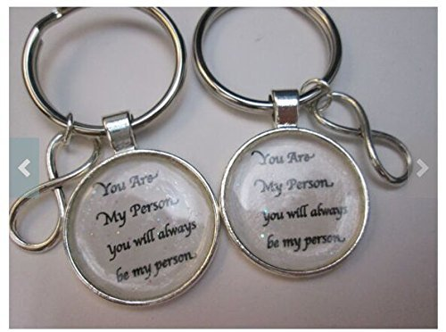 Set of 2 You are my person You will always be my person off white keychain bff best friends forever sister family key rings.