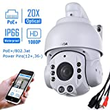 SUNBA 1080P HD, PoE+, 20X Optical Zoom, Night Vision, PTZ Outdoor IP Security Dome Camera ONVIF (507-20XB PoE)