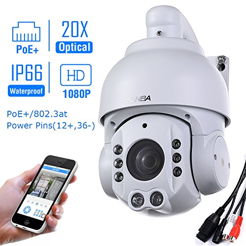 SUNBA 1080P HD, PoE+, 20X Optical Zoom, Night Vision, PTZ Outdoor IP Security Dome Camera ONVIF (507-20XB PoE) by Sunba