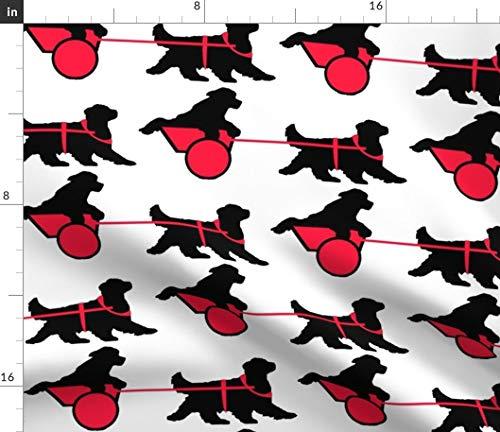 Newfoundland Dog Fabric - Black Silhouette Dog Black Red Wagon Carting Nca Dd Animals Whimsical Dog Print on Fabric by The Yard - Sport Lycra for Swimwear Performance Leggings Apparel Fashion