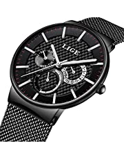 LIGE Mens Watches Military Waterproof Stainless Steel Analog Quartz Watch with Chronograph Moon Phase Wrist Watch