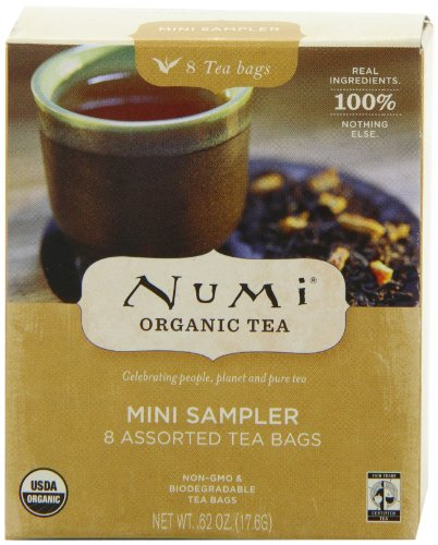 Numi Organic Tea Mini Sampler - Assorted Teabags of Traditional Organic Blends, 8-Count Box (Pack of 12)