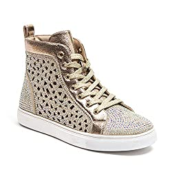 Laser Cut High Top Rhinestone Sneake