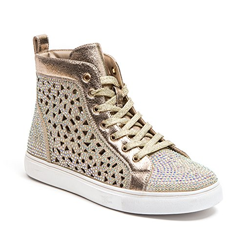 Lady Couture Flat Laser Cut High Top Bling Rhinestone Sneaker Women's Shoes New York Gold 41