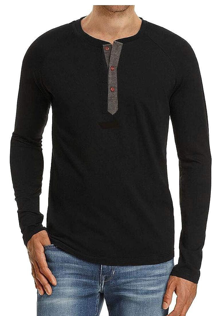 Beloved Mens Casual Henley Shirt Long-Sleeves Slim Fit Blouse Tee