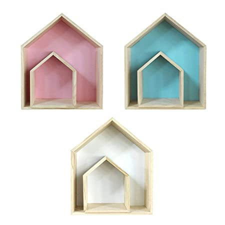 Lovely Wooden House Shaped Wall Storage Shelf Display