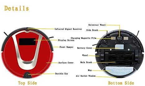 LIBINA - Aspiradora Robot Aspirador inalámbrico Aspirador doméstico Inteligente Inteligente Cita fregadora barredora de succión Fuerte - silencioso,Black: ...