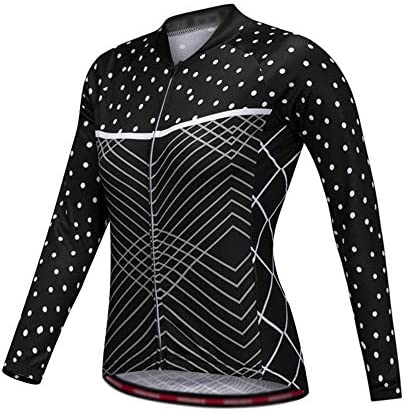 サイクルジャージ 反射性の女性の白いドットサイクリングジャージー半袖マウンテンバイクシャツMTBトップジッパーバックストレージポケット通気性の快適さ 吸汗速乾高通気 (色 : ブラック, サイズ : XL)