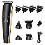 Cordless 5 in 1 WaterProof Multi-functional Hair clippers electric Hair trimmers with Scissors Combs Rotary Motor Quiet Home Barber Fade Clipper Nose Hair Clipper (Black)