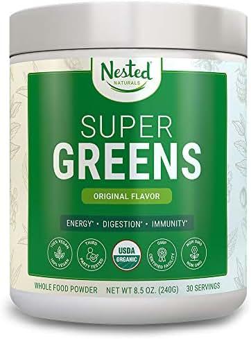 Super Greens | #1 Green Veggie Superfood Powder | 100% USDA Organic Non-GMO Vegan Supplement | 30 Servings | 20+ Whole Foods (Spirulina, Wheat Grass, Barley), Probiotics, Fiber & Enzymes (Original)