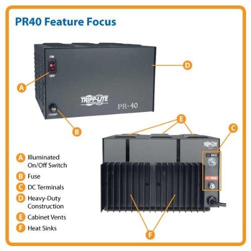 Tripp Lite PR40 DC Power Supply 40A 120V AC Input to 13.8 DC Output TAA GSA