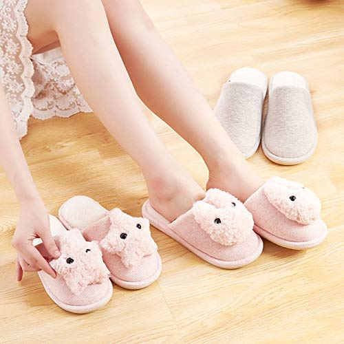 Color : Pink, Size : 1 Easyflower Available Perfect Cotton Slippers Female Winter Indoor Non-Slip Thick Bottom Cute Cartoon Home Slippers Waterproof Warm Fur Shoes