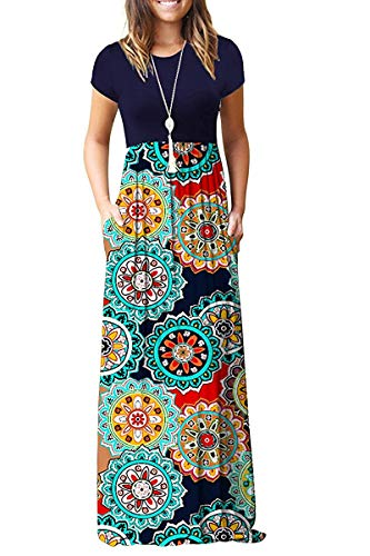 MISFAY Women Short Sleeve Loose Plain Maxi Dresses Casual Long Dresses Pockets (Navy Floral Red, XL)