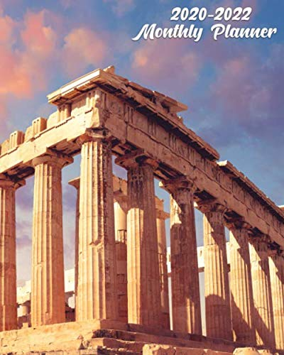 2020-2022 Monthly Planner: Pretty 3 Year Monthly Organizer, Schedule Calendar & Agenda with 36 Months Spread View - Fantastic Sunset at Parthenon Temple & Acropolis, Athens, Greece