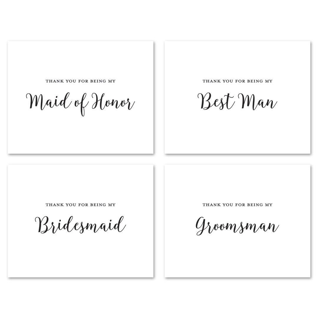 12 cnt Wedding Party Thank You Cards (Black)