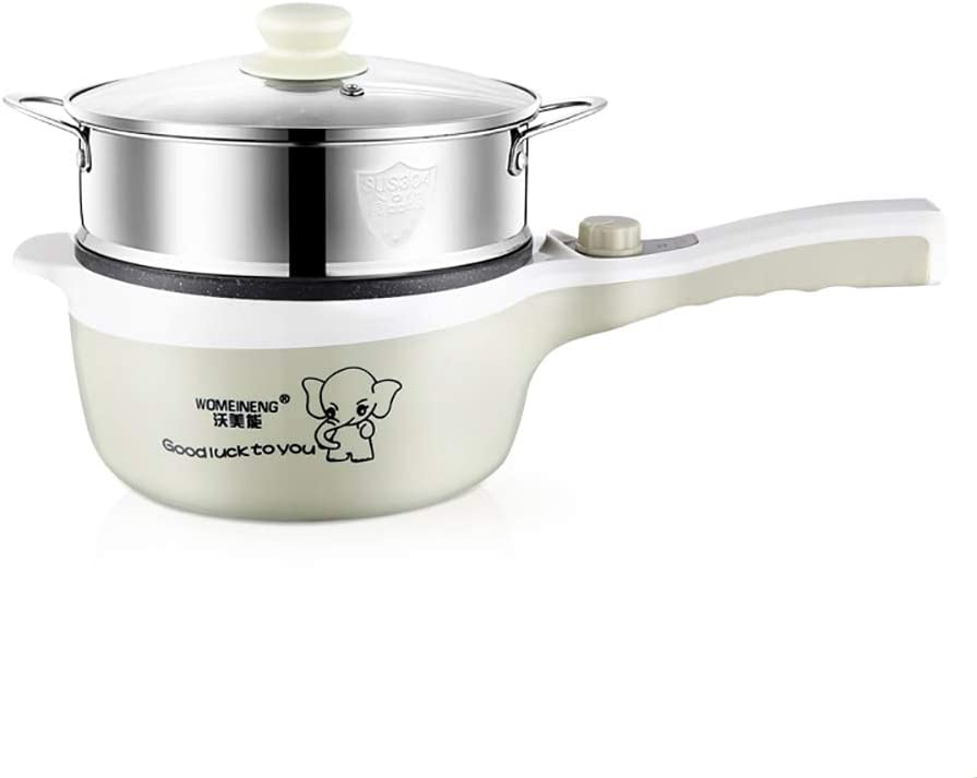Electric Skillet,5 in 1Mini Student Dorm Pan,Rapid Noodle Cooker,Non-stick Sauté Pan,Hot pot with lid,for Cooking,Roasting,Stir-frying,baking,Steaming.