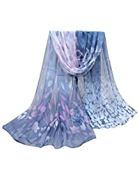ABC® Women Scarf, Women Fashion Design Silk Printed Scarf Soft Chiffon Shawl Wrap (Dark Gray)