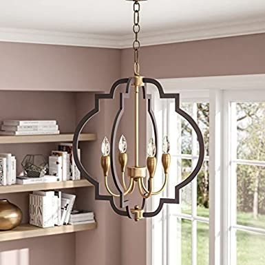 Saint Mossi Oil Rubbed Bronze Farmhouse Chandelier Lighting Flush mount LED Ceiling Light Fixture Pendant Lamp for Dining Room Bathroom Bedroom Livingroom 4 E12 LED Bulbs Required Height 24 x Width 22 Saint Home