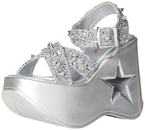 Demonia Women's Dynamite-02 Sandal, Black Silver Glitter
