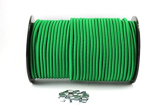 20m Expanderseil grün 10 Würgeklemmen 8mm Gummiseil Planenseil Meter Plane
