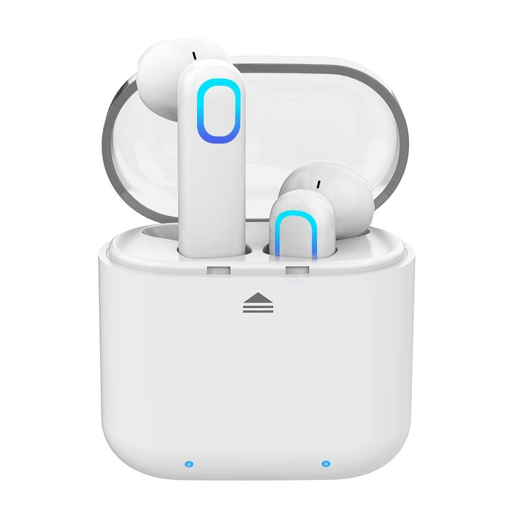 Bluetooth Earbuds Wireless Earbuds Bluetooth Headset Bluetooth Headphones 5.0 Auto Pairing Mini in-Ear Noise Canceling Earphones with Charger Case Hands-Free Calls for Android Phone