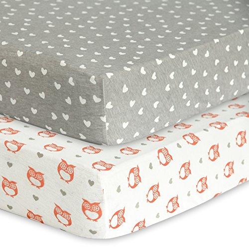 100% Jersey Cotton Crib Sheets 2 Pack. Unisex - Baby Girl Crib Sheets Green