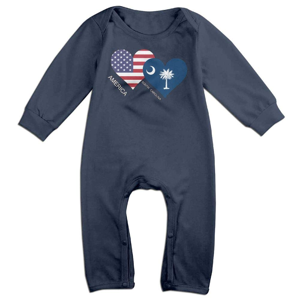 Toddler Baby Boy Girl Bodysuits America South Carolina Flag Heart Baby Clothes