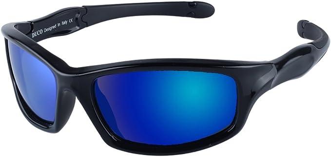 DUCO Kids Sports Style Polarized Sunglasses Flexible Frame For Boys and Girls K006 55 K006-Orange-US