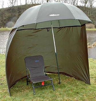 Bison - Refugio de pesca con sombrilla inclinable y toldo lateral (cremalleras en los lados