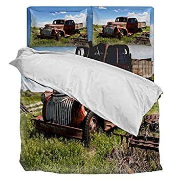 Image of Home and Kitchen Aiesther Bedding Set Duvet Cover 4 Piece Farm Deserted Truck Soft Twill Plush Quilt Cover, Include 1 Duvet Cover 1 Flat Sheet and 2 Pillow, for Adults Children Boys Girls King
