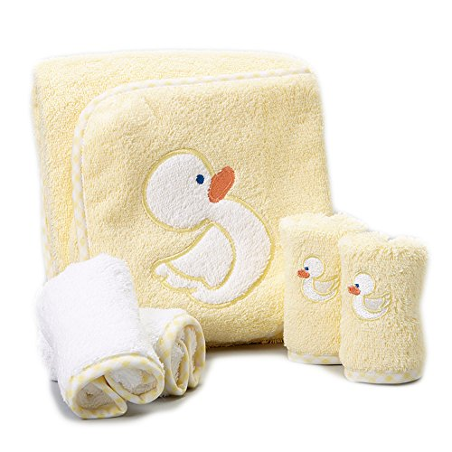 (Spasilk 100% Cotton Hooded Terry Bath Towel with 4 Washcloths, Yellow)