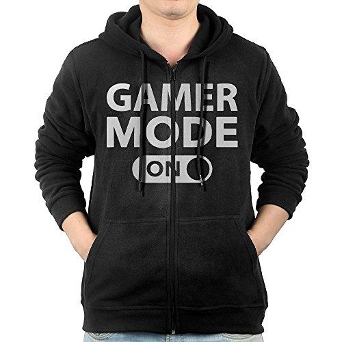 Gamer Mode On Mens Hooded Sweater Pocket Zipper Hooded Sweatshirt Full Zip Hoodie With Pocket Size M Black
