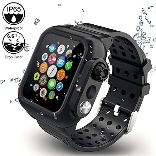 (ADDSMILE Compatible for Apple Watch Band with Case 44mm Series 4, 3-in-1Waterproof Case with Soft Silicone Band and Anti-Scratch Screen Protector, 360°Protective Case Compatible With iWatch 44mm-black)