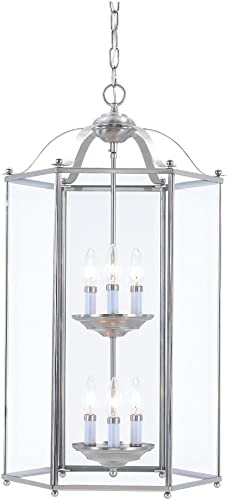 Sea Gull Lighting 5233-962 Six Light Hall Foyer Fixture, Brushed Nickel