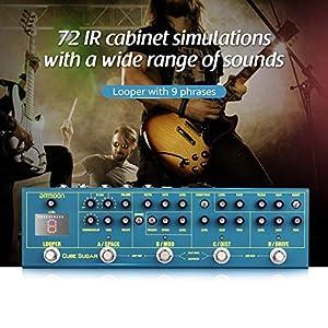 ammoon Multieffetto Chitarra Elettrica Pedale Effetto con 5 Effetti Analogici Boost Overdive Distortion Chorus Phaser 2 Effetti Digitali Delay Reverb 72 IR Cabinet Simulazione 9 Loops